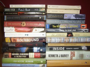 Unread Atlantic Canadian books. Who knew I had so many until I gathered them all up?